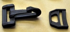 20mm / 2cm Karabinerhaken / Karabinerverschluss m. Wirbel & D-Ring / Leiterschnalle