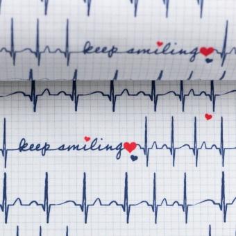 """Herzschlag auf weißem Grund - Kardiogramm Motivstoff """"Keep Smiling Toni"""""""