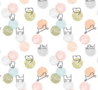 Katzenstoff mit Kätzchen die mit pastellfarbenen Wollknäuelen spielen - White Cathletic Purr-fection by Dear Stella Collection Tiermotivstoff