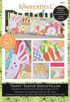 Hoppy Easter Bench Pillow Stickdateien & Schnittmuster - Kimberbell Bench Buddy Series Machine Embroidery - mit SVG & Stickdateien
