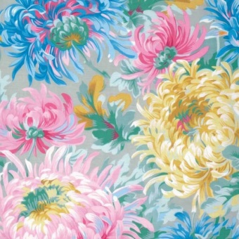 Grey Shaggy Floral Blumenstoff - Philip Jacobs for Kaffe Fassett Collective Designerstoff