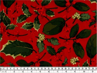 Red Poinsettia & Holly Mix - Kaffe Fassett Collective Stoffe - Martha Negley Summer 2013