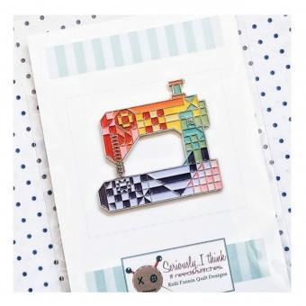 Patchworkmuster Nähmaschine Anstecker - Stitch Happens Enamel Pins & Buttons - Kelli Fannin Quilt Designs