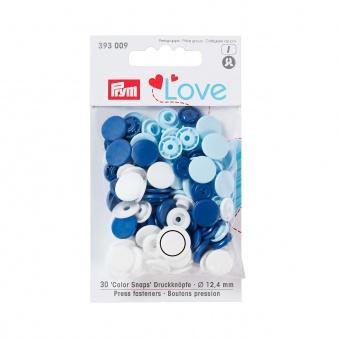 Nähfrei Snap Druckknöpfe - PRYM Love Color Snaps Ø12,4mm - Dunkelblau / Weiß / Hellblau