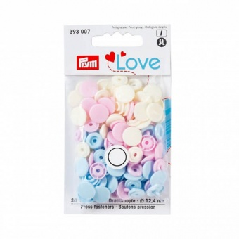 Nähfrei Snap Druckknöpfe - PRYM Love Color Snaps Ø12,4mm - Rosa / Weiß / Hellblau