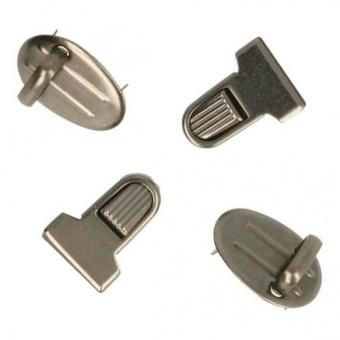 Altsilbernes Mini-Steckschloss - Gewellte Metall Steckschnalle - Kleiner Tornisterverschluss