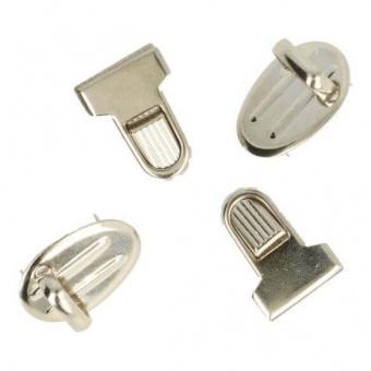 Silbernes Mini-Steckschloss - Gewellte Metall Steckschnalle - Kleiner Tornisterverschluss