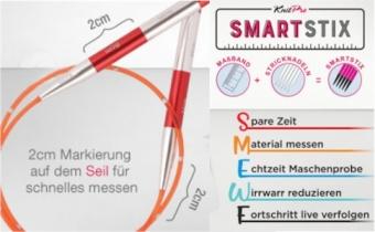 """Bunte, auswechselbare Nadelseile  mit """"Smart Stix"""" Maßeinteilung für Knit Pro aufschraubbare Rundstricknadeln Stricknadelspitzen"""