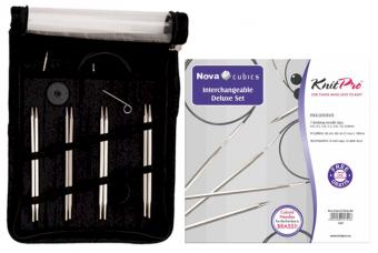 KnitPro Nova Cubics Deluxe Set - Auswechselbare Nadelspitzen im Stricknadelset - Nova Metall Luxus Edition