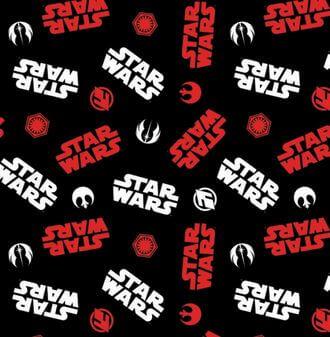 Star Wars Lizenzstoff mit Logos der Rebellen, Imperial Army usw. - Originalstoff Cosplay Meterware - Limited Edition! - Black Tossed Icons