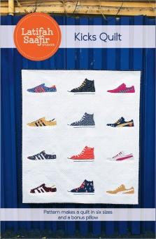 Kicks Patchworkdecke Quilt Pattern - Vorlage & Schnittmuster von Latifah Saafir Studios - Turnschuhe & Sneaker Patchworkblöcke