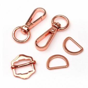 Rosé Gold Handtaschenset - Rosegold Taschenbeschläge: D-Ringe, Karabiner & Leiterschnalle