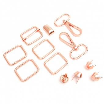 Rosé Gold Handtaschenset - Rosegold Taschenbeschläge: Vierkantringe, Karabiner, Leiterschnalle & Bodennägel