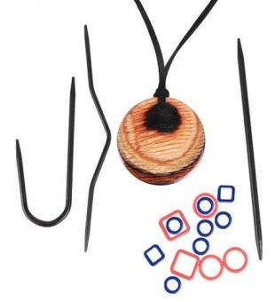 Magnetische Halskette für Stricker inklusive Zubehör - Naturfarbenes Magnetic Knitter's Necklace Kit - KnitPro Natural Hues