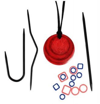 Magnetische Halskette für Stricker inklusive Zubehör - Rotes Magnetic Knitter's Necklace Kit - KnitPro Cherry Berry