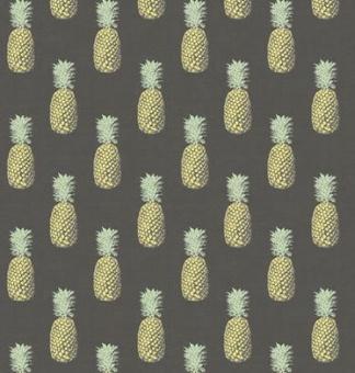 Ananas auf Grau Motivstoff - Obststoff von Makower - Grey Fern Garden Pineapple