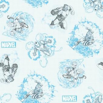 Marvel's Avengers Sketch Comicstoff / Superheldenstoff mit Thor, Iron Man, Hulk & mehr