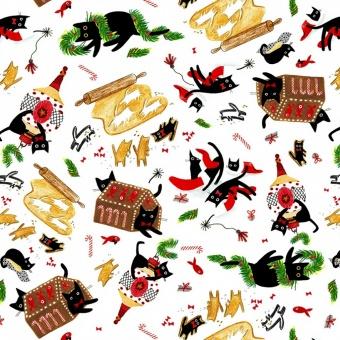 """Lustiger Katzenstoff """"Weihnachtsbäckerei"""" - Meowy & Bright Cats by Dear Stella Collection Tiermotivstoff mit Kätzchen"""