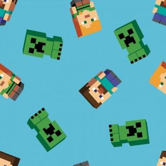 Minecraft Friends & Mini Mobs Motivstoff - Mojang Lizenzstoff - Jump And Run Patchworkstoff