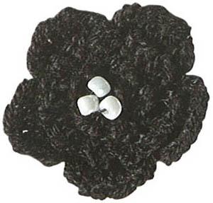 Kleines Blümchen Applikation - Schwarz-Weiße Häkelblume Bügelapplikationen - PRYM
