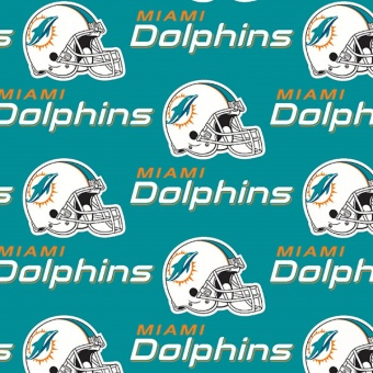 Miami Dolphins Motivstoff - Original NFL Lizenzstoff - American Football Meterware