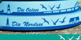 Die Nordsee Hellblau / Blau - Meine Heimat Skyline Webband / Bändchen - Meterware