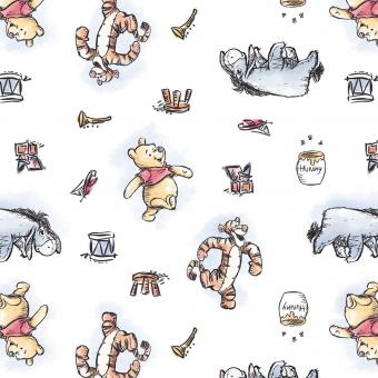 Winnie der Pooh Bär Disneystoff mit Tigger, Ferkerl & I-Aah - Winnie the Pooh Bear & Friends Kinderstoff