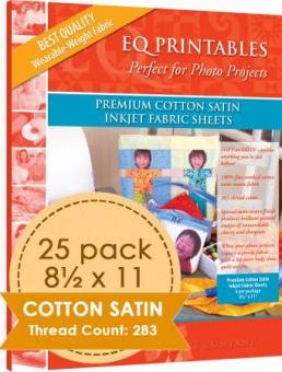 EQ Printables Premium Cotton Satin Inkjet Fabric Sheets 25er Pack (25 Blatt)
