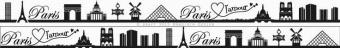 Paris Schwarz-Weiss - Meine Heimat Skyline Webband / Bändchen - Meterware