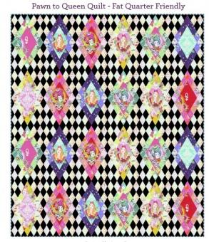 Pawn to Queen Quilt Anleitung - Tula Pink Curiouser & True Colors Designerstoffe Pattern - FreeSpirit Patchworkdecke - GRATIS DOWNLOAD!