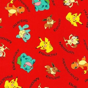 Große Sammlung Pokémons Lizenzstoff - Original Nintendo Pokemonstoff - Pikachu, Bisamsam, Turtok, Glumanda uvm. Motivstoff
