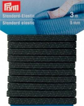 Schwarzes Standard-Elastic 5mm - Gummizug / Gummitwist / Gummiband / Gummizug - 3m Karte - elastisch