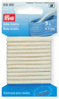 Weißes Baby Elastic 4,5mm - Gummizug / Gummitwist / Gummiband / Gummizug - 3m Karte - elastisch