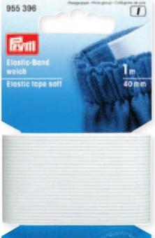 Weißes Elastic-Band weich 40mm - Gummizug / Gummitwist / Gummiband / Gummizug - 1m Karte - elastisch