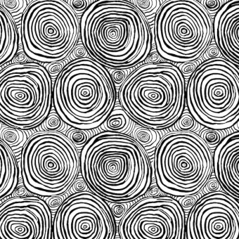Black Onion Rings - Kaffe Fassett Collective Designerstoffe - Spring 2019 Brandon Mably - Schwarz-Weißer Patchworkstoff