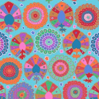 Aqua Turkish Delight - Kaffe Fassett Collective Designerstoffe - Spring 2019 Patchworkstoff
