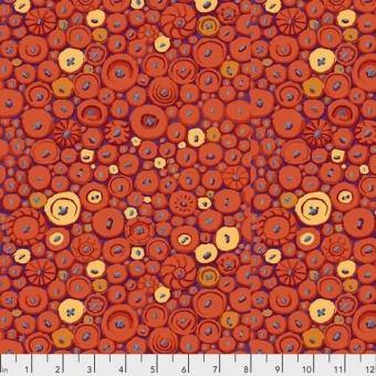 Orange Button Mosaic Motivstoff mit Knöpfen - Kaffe Fassett Collective Designerstoffe & Patchworkstoff Meterware
