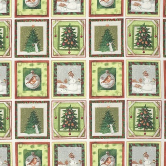 Weihnachtsstoff Schneemann, Tannebaum, Häschen Vignetten - Berry Check Winter Miracle by Marjolein Bastin