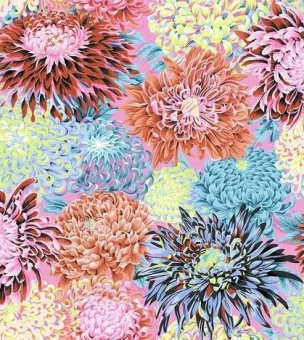Contrast Japanese Chrysanthemums - Phillip Jacobs for Kaffe Fassett Collective Designerstoffe - Fall / Winter 2018 / 2019