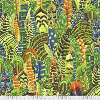 Lime Feathers Federnstoff - Philip Jacobs Patchworkstoffe - Kaffe Fassett Collective Designerstoffe