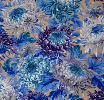 Neutral Shaggy Floral Blumenstoff - Philip Jacobs for Kaffe Fassett Collective Designerstoff