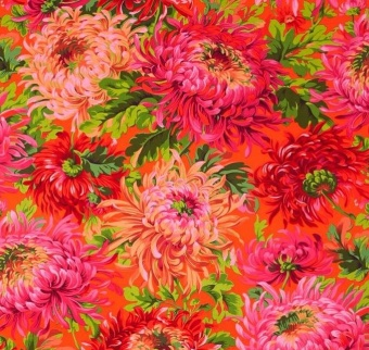 Red Shaggy Floral Blumenstoff - Philip Jacobs for Kaffe Fassett Collective Designerstoff