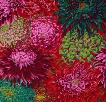 Scarlet Shaggy Floral Blumenstoff - Philip Jacobs for Kaffe Fassett Collective Designerstoff