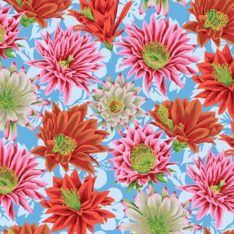 Multi Cactus Flowers - Kaffe Fassett Collective Designerstoffe - Philip Jacobs Spring 2019 Patchworkstoff