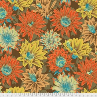 Brown Cactus Flowers - Kaffe Fassett Collective Designerstoffe - Philip Jacobs Spring 2021 Patchworkstoff