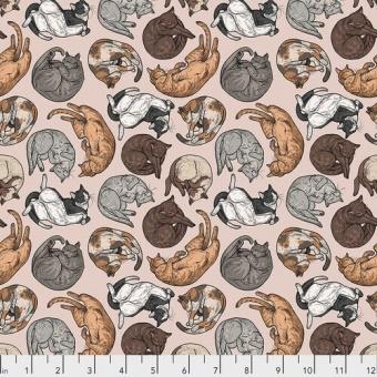 Cat Tales Katzenstoff - Natural Cat Nap - Rachel Hauer Designerstoff - Free Spirit Motivstoff
