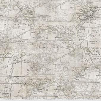 Weltkarte / Landkarte - Parchment Expedition - Tim Holtz Eclectic Elements Monochrome Patchworkstoffe