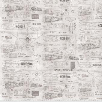 Flugzeug-Baupläne / Model Airplanes - Parchment Model Airplanes - Tim Holtz Eclectic Elements Monochrome Patchworkstoffe