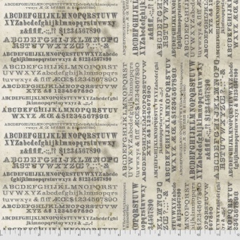 Alphabet Buchstaben - Parchment Typography - Tim Holtz Eclectic Elements Monochrome Patchworkstoffe