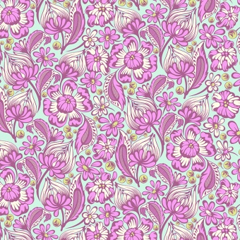Raspberry Wild Vines Retro Blümchenstoff - Chipper by Tula Pink Patchworkstoffe
